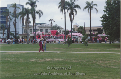P001.037m.r Pride 1991: Park with Pride Parade in the back ground