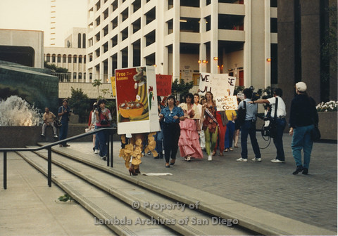 P024.087m.r.t Myth California Protest, San Diego, June 1986: people marching