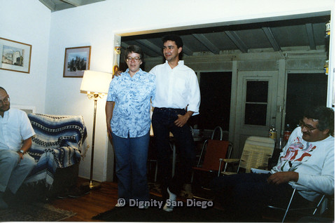 "P103.082m.r.t Dignity San Diego: Man in white collared shirt with arm around ""Lucy"""