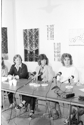 P123.044m.r.t Dixon Press Conference 1982:  (Left to Right) Robin Bruce, Fran Ledford, and Chris Russell