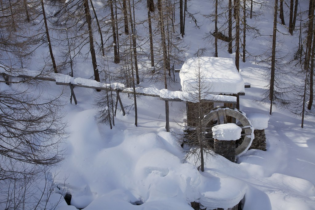 Old Water Mill Old Water Mill In Deep Snow Saas Fee