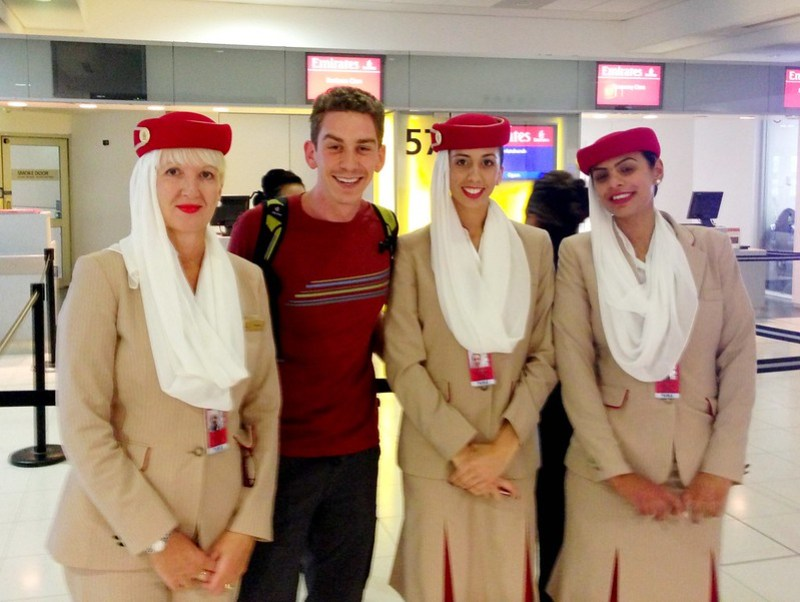 Hanging with the Emirates Ladies before boarding a Boeing 777 to Christchurch, NZ...