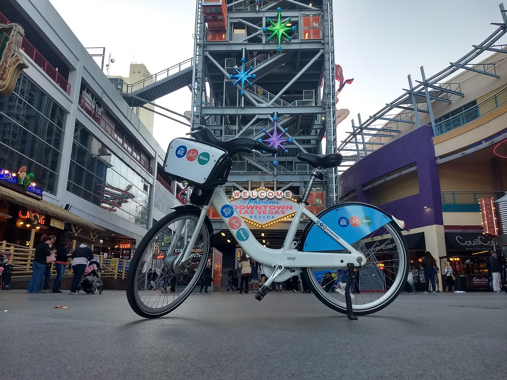 Riding the Las Vegas Bike Share Bike through the Freemont Street Experience