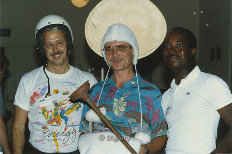 "P104.094m.r.t Dignity San Diego:Michael (left) and Alfred (middle) wearing rummaged items besides Stan ""Stanley"" Lewis (right)"