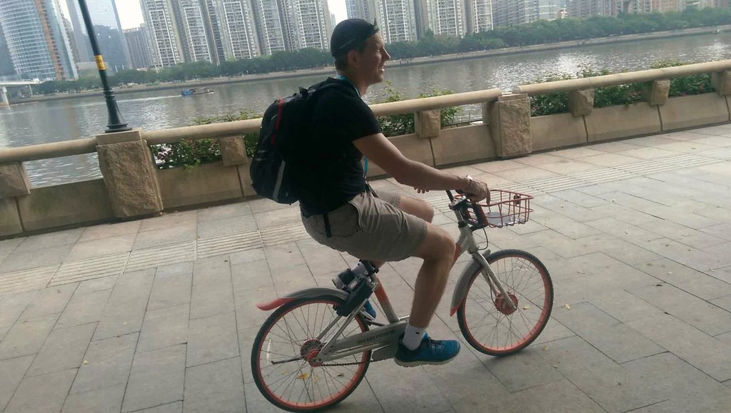 Riding a Too small Mobike in Guangzhou