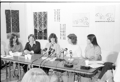 P123.020m.r.t Dixon Press Conference 1982:  (Left to Right) Kathy Gilberd (MLTF, NLG), Robin Bruce, Fran Ledford, Chris Russell and  Eileen Bingle smiling towards Fran.