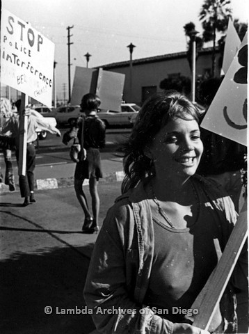 P180.003.02m.r.t Smiling woman picketing