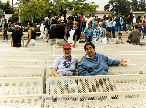 P024.508m.r.t 1989 San Diego Pride:Sally Hopkins (on left) sitting with Edna Myers (on right).