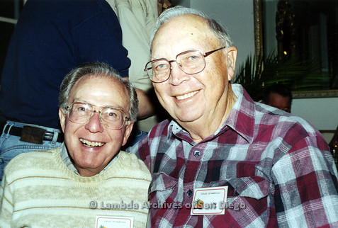 "P040.186m.r.t SAGE General Meeting; 2 men (from left to right: Don and Louis ""Lou"" Krueger)"