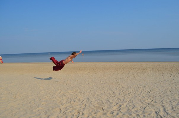 Superman on a Latvian Beach