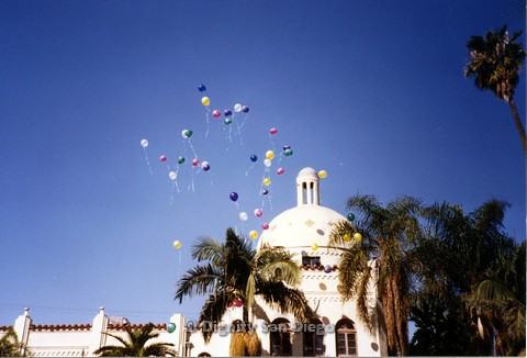 P103.102m.r.t Balloons released in front of the Metorpolitan Community Church of Los Angeles