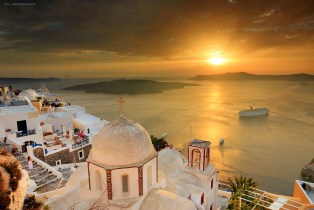 Golden Sunset in Fira, Santorini