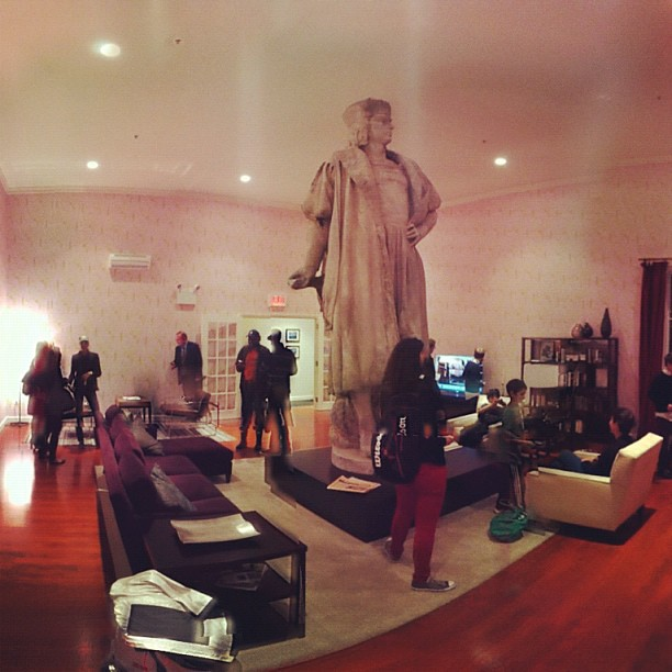 Christopher Columbus in a living room, at Tatzu Nishi's Discovering Columbus...