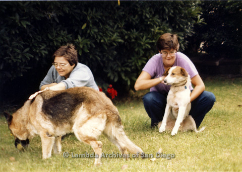 P024.352m.r.t Moving Sheila Shanahan and Nancy Groswich: Nancy Groswich (left) and Sheila Shanahan (right) with dogs.