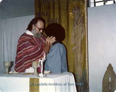P110.054m.r.t Metropolitan Community Church: Joseph Gilbert giving blessing to religious leader.