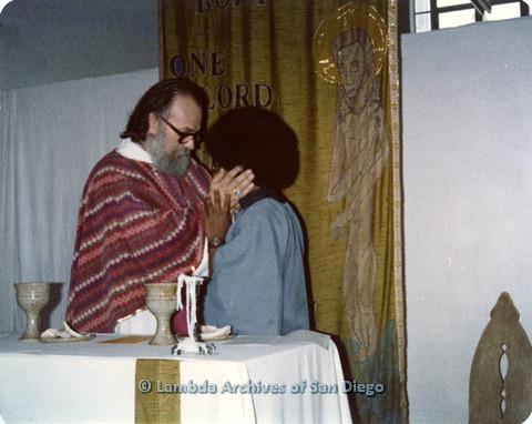 P110.054m.r.t Metropolitan Community Church: Joseph Gilbert giving blessing to religious leader.