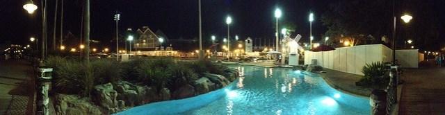 Disney Yacht & Beach Club pool at night