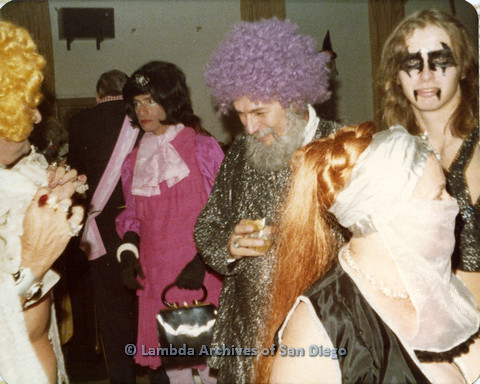 P110.027m.r.t Metropolitan Community Church: Joseph Gilbert wearing pink wig standing in midst of crowd.