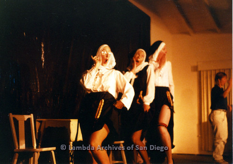 P024.166m.r.t Beautiful Lesbian Thespian performers in nun habits revealing legs with garter belts