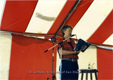 "P024.245m.r.t Judy Grahn reading a selection from ""Another Mother Tongue: Gay Words, Gay Worlds."""