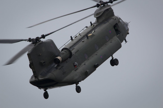 Fairford, Gloucestershire, UK - July 10th, 2016: Royal Air Force Boeing CH-47 Chinook performs at Fairford International Air Tattoo 2016