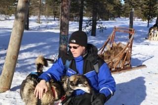 Huskies meet man