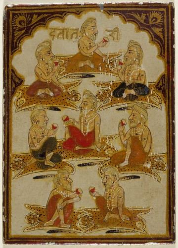 Eight Yogis, Number Eight of the Ishana Suit, Playing Card from a 32-Suit Dashavatara (Ten Avatars) Ganjifa Set LACMA M.73.55.5
