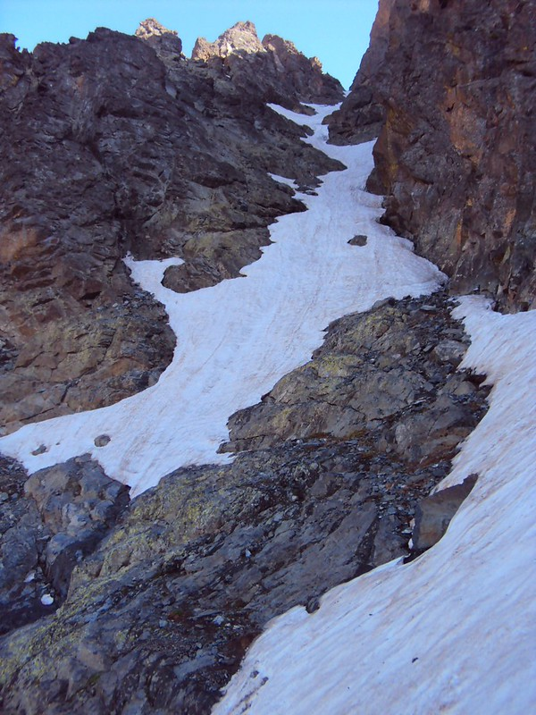 Oops, we should have brought ice axes and crampons.  WIthout them, we didn't pass this section.  It's not steep, but it's steeper than it looks in the photo. by bryandkeith on flickr