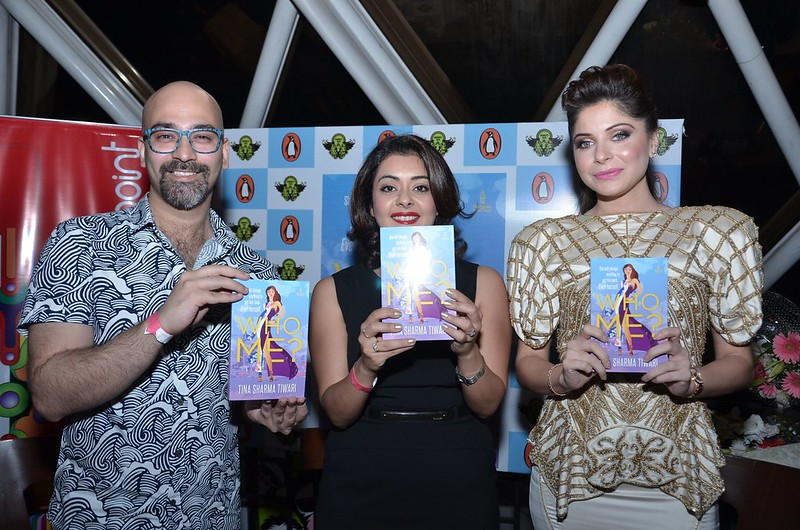 (L-R) Rishi Raj, Tina Sharma and Kanika Kapoor launching the book 'Who Me' at Monkey Bar, Vasant Kunj