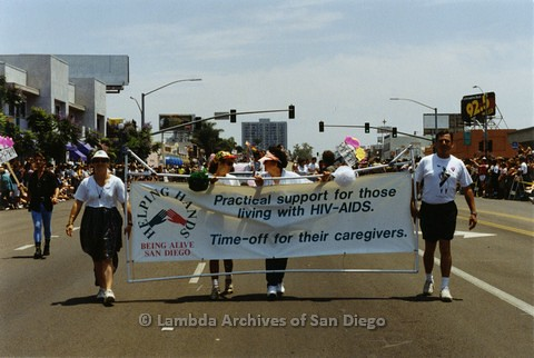 1994 - San Diego LGBT Pride Parade: Contingent - 'Helping Hands' San Diego AIDS Services Organization helping People with AIDS and Their Caregivers.