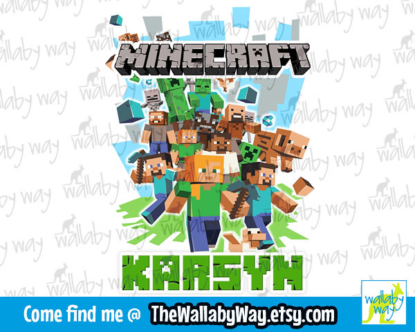 Minecraft Birthday Shirt Design 1 Customize With Any