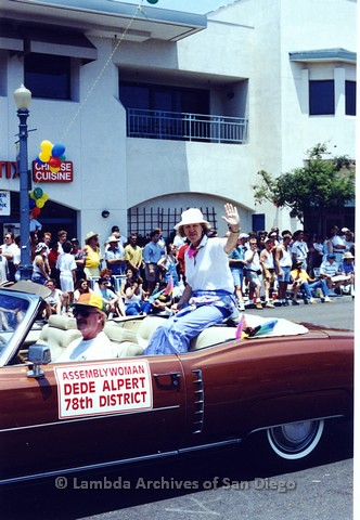 1994 - San Diego LGBT Pride Parade: Contingent - San Diego Assembly Woman, Dede Alpert (center)