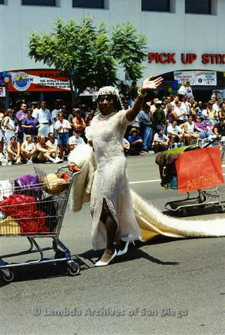 1994 - San Diego LGBT Pride Parade: Contingent - Female Impersonators marching down University Avenue.