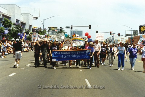 1994 - San Diego LGBT Pride Parade: Contingent - First Unitarian Universalist Church of San Diego marching down University Avenue.