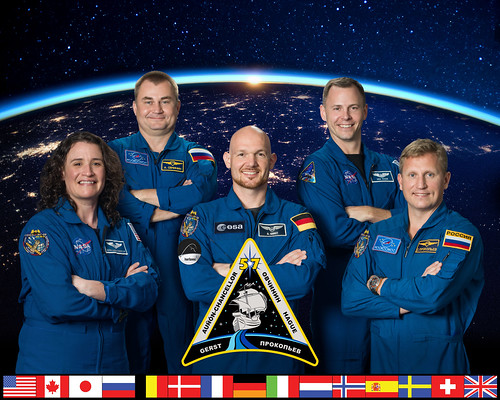 The official portrait of the five-member Expedition 57 crew