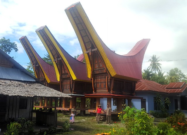 We were so excited to these fancy houses.  We thought maybe they were used for prayer since they were the nicest buildings in the village.  No, they're used to store rice, we learned.  Later in Tana Toraja we saw hundreds more like these. by bryandkeith on flickr