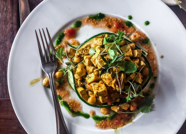 curried tofu and chickpeas  at the Pirate's Bight in Norman Island