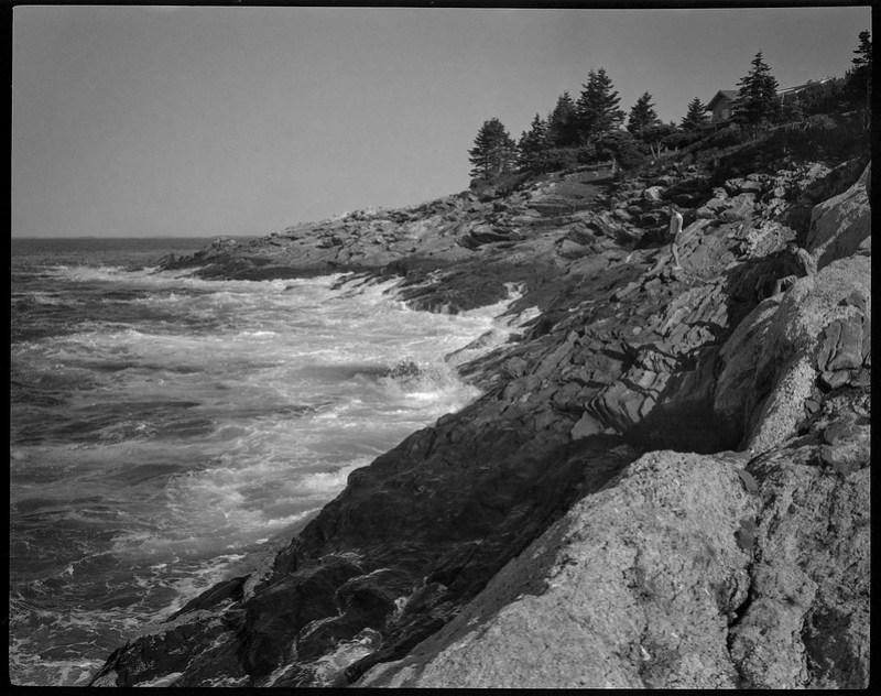 jagged, rocky coastline, Pemaquid Point, Maine, Koni Omega Rapid 100, Super Omegon 90mm f-3.5, Arista.edu 200, Ilford Ilfosol 3 developer, 7.19.18