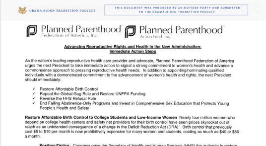 Planned Parenthood wish list to Obama Biden Transition Project