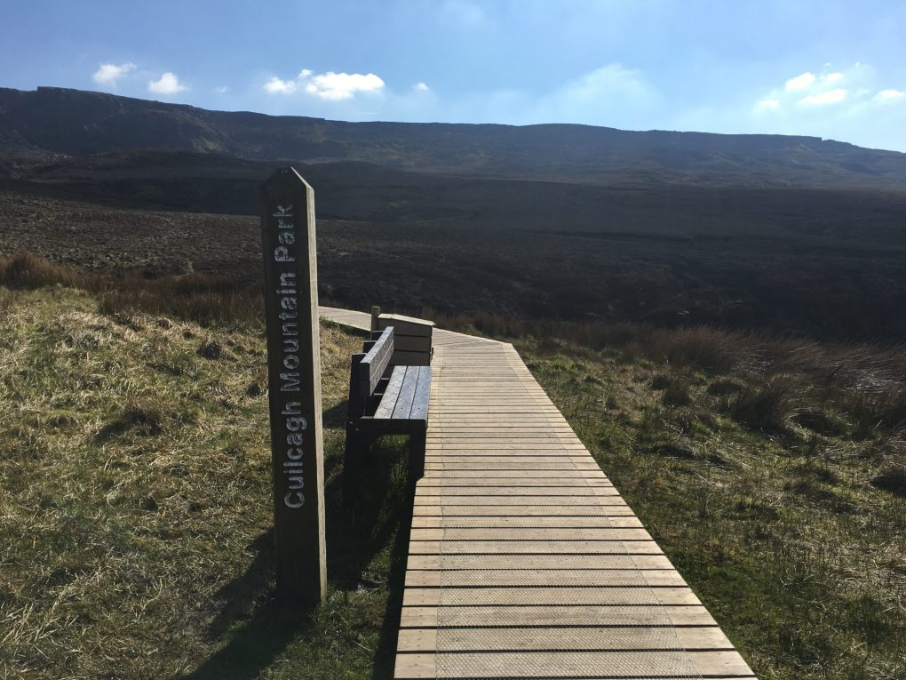 A picture of the beginning of the boardwalk at the Stairway to Heaven Ireland
