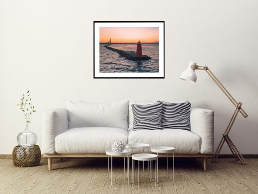 Sunset at Poolbeg Lighthouse, Dublin, Ireland Print