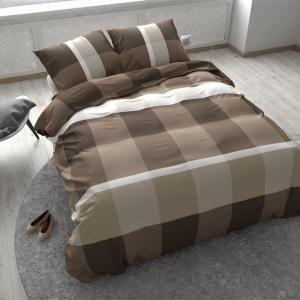 Dekbedovertrek Sleeptime Solid Cotton Earth Check Taupe