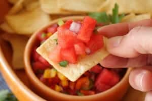watermelon salsa bite