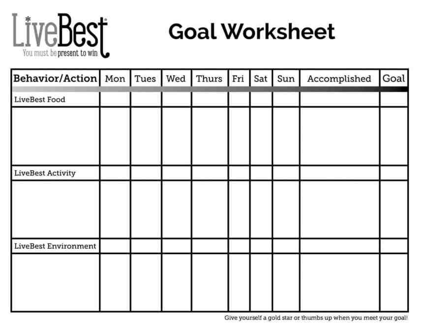 FREE LiveBest Goal Worksheet