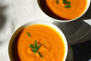 Carrot Coconut Ginger Soup Recipe | Easy, economical and healthy, I love the flavors in this creamy soup! Ginger and coconut make the carrots ( and me) happy! Real food naturally. www.LiveBest.info