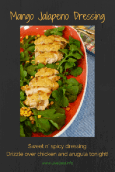 Mango Jalapeno Dressing | Taste the tropics in this on-so-easy dressing. Love it on grilled chicken or shrimp! www.LiveBest.info