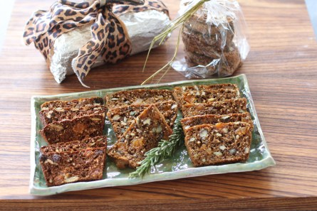 Sliced Apricot Pecan crisps on a tray