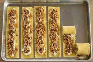 Walnut Mushroom Lasagna Rolls being filled