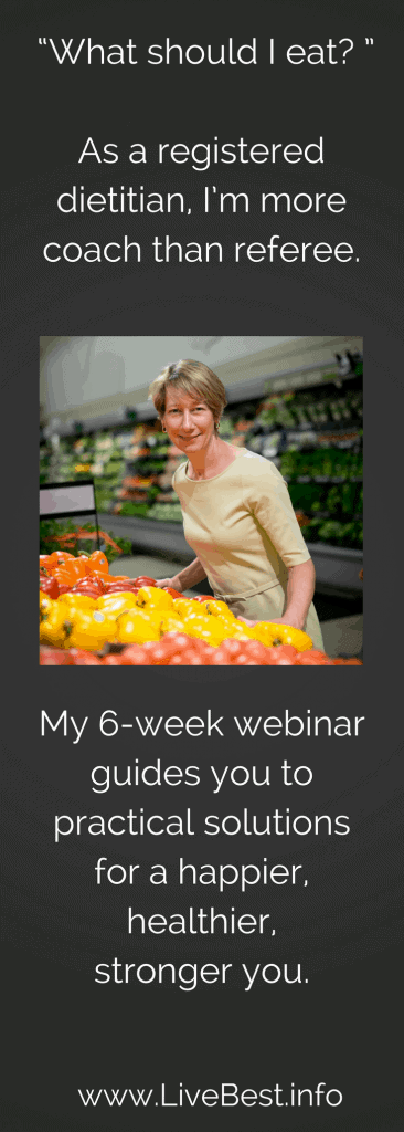healthy lifestyle webinar by registered dietitian nutritionist Judy Barbe. www.LiveBest.info