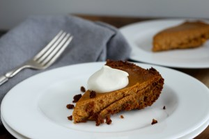 Gingersnap Pumpkin Pie slice on plate